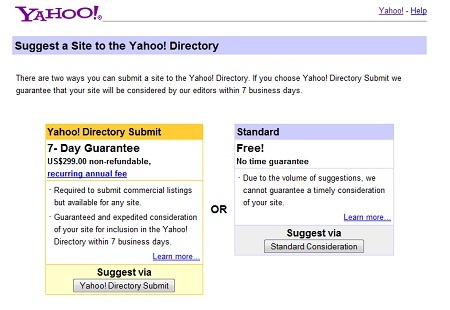 добавить сайт в Yahoo каталог