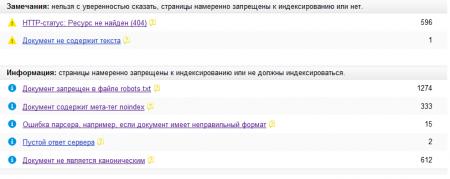 ошибки при кроулинге Яндекс