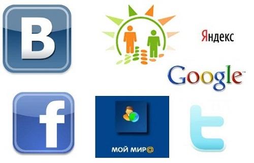 facebook vkontakte moimir odnoklassniki twitter yandex google logo
