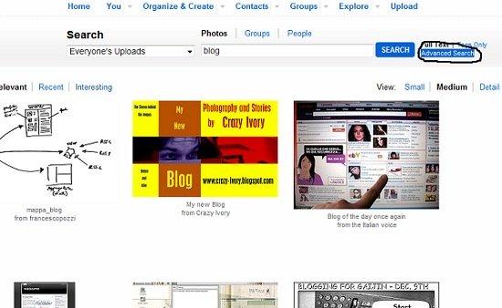 Расширенный поиск на flickr.com