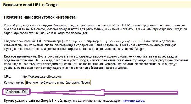 добавить сайт в google 1