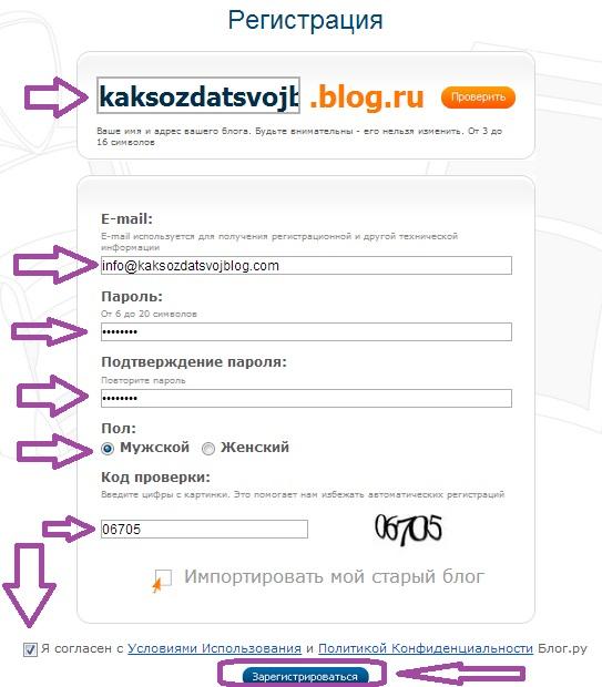 Как Создать Блог на Blog.Ru. Шаг 2.