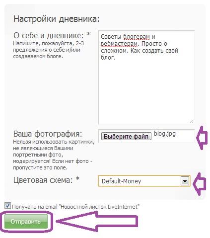Как Создать Дневник на Liveinternet. Шаг 4.