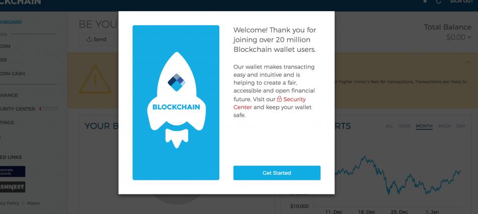 Кошелек на Blockchain.com создан